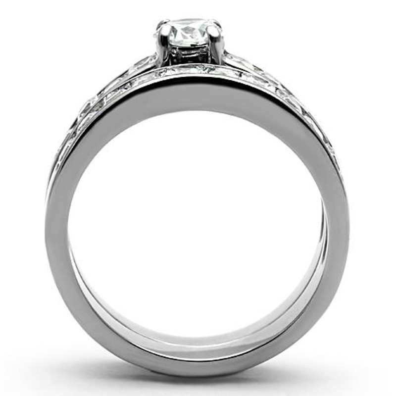 ARTK1321 Stainless Steel 316l, 3.25 Ct Cubic Zirconia Engagement Wedding Ring Set Sz 5-10