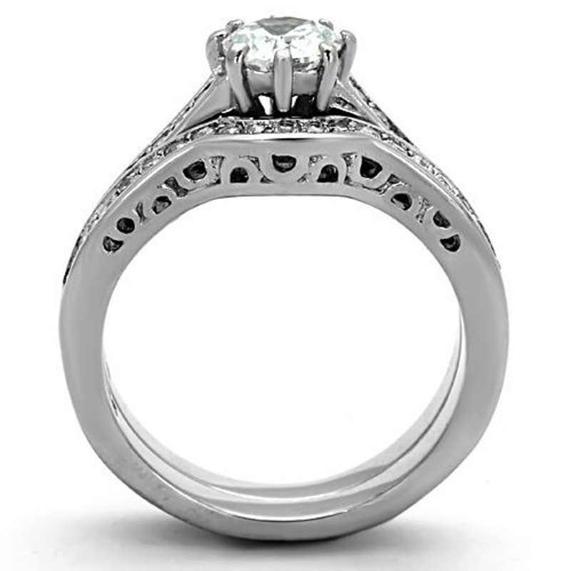 ARTK1330 Stainless Steel 316l 1.85 Ct Cubic Zirconia Wedding Ring Set Women's Size 5-10
