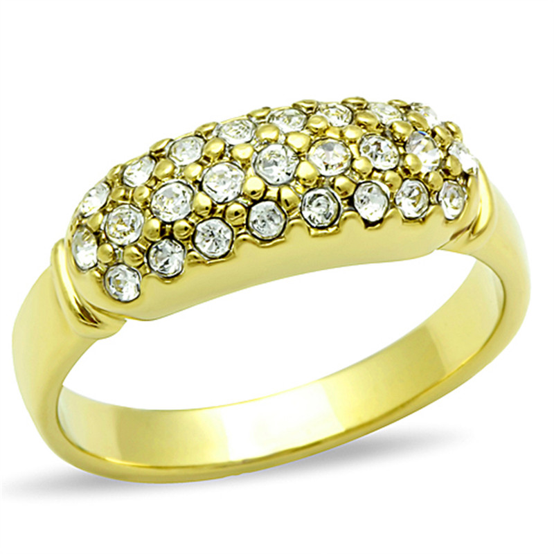 MEN'S STAINLESS STEEL 14K GOLD ION PLATED .26 CT SIMULATED DIAMOND RING SZ 8-13