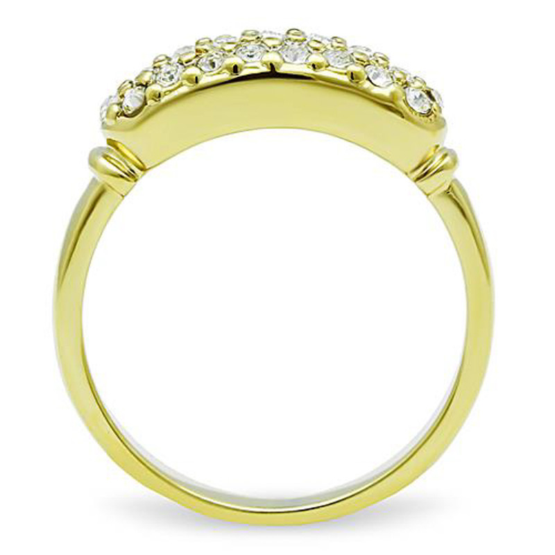 ARTK1389 Stainless Steel 316, 14k Gold Ion Plated 6mm Wide Crystal Fashion Ring Size 5-10