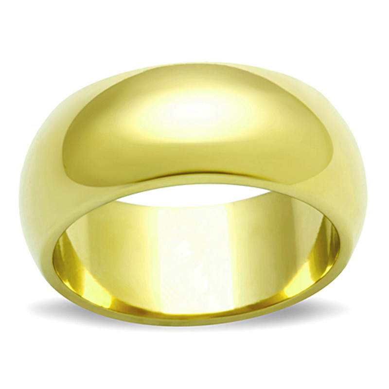 14K GOLD ION PLATED STAINLESS STEEL 316, 8mm WIDE WEDDING BAND WOMENS SIZES 5-10