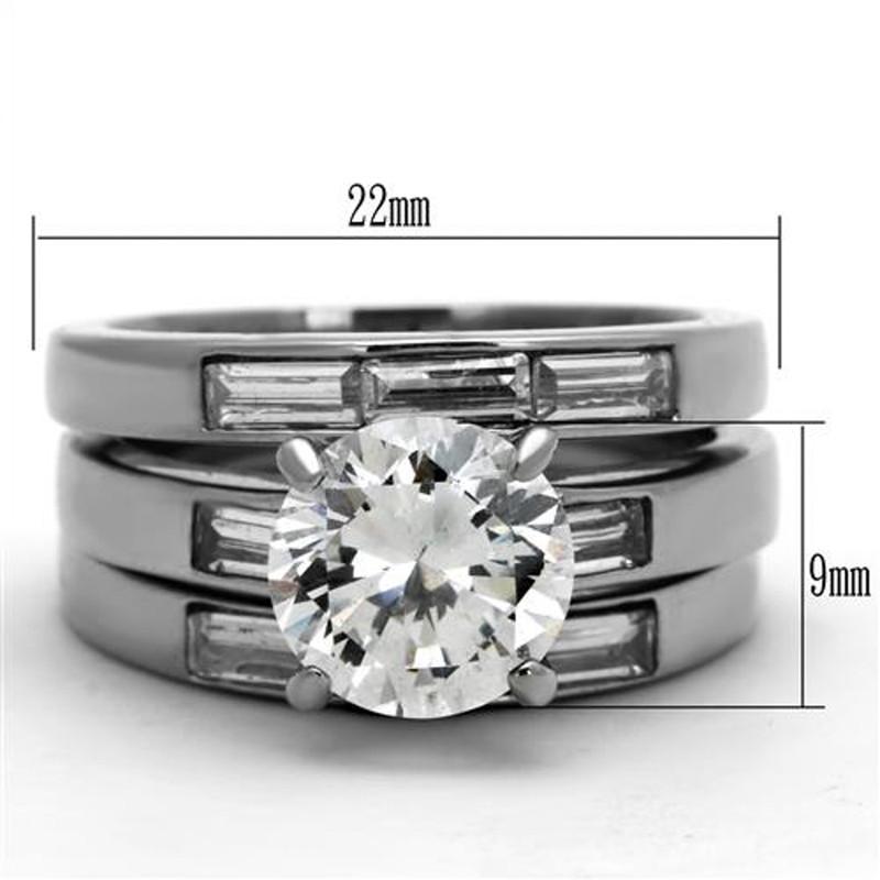 ARTK1436 Stainless Steel 4.35 Ct Cubic Zirconia engagement Wedding Ring 3 PC Set Sz 5-10