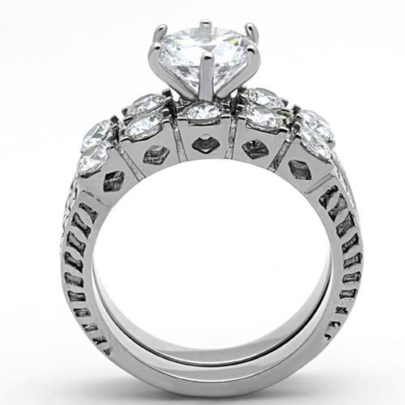 ARTK1450 Stainless Steel 316l 3.10 Ct Round Cut Zirconia Wedding Ring Band Set Sz 5-10