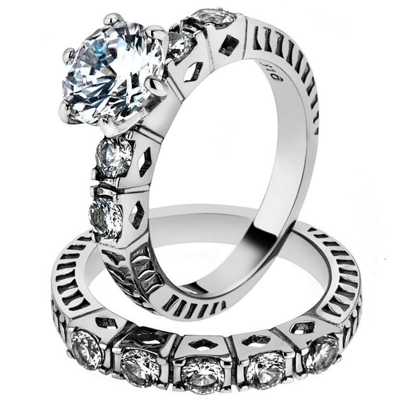 3.10 CT ROUND CUT ZIRCONIA STAINLESS STEEL 316L WEDDING RING BAND SET SZ 5-10