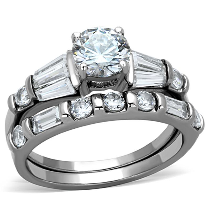 ARTK1535 Stainless Steel 2.50 Ct Round Cubic Zirconia Engagement Wedding Ring Set Sz 5-10