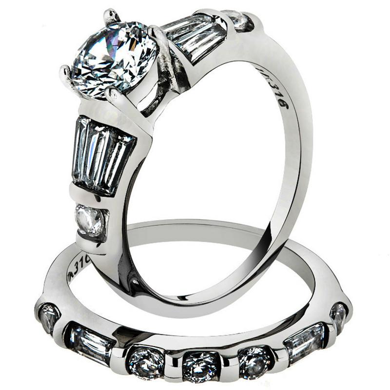 2.50 CT ROUND CUBIC ZIROCNIA STAINLESS STEEL ENGAGEMENT WEDDING RING SET SZ 5-10