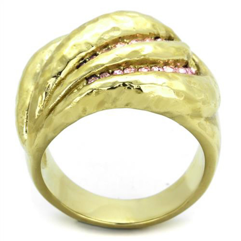 ARTK1638 Stainless Steel 14k Gold Plated Light Rose Crystal Cocktail Ring Women's Sz 5-10