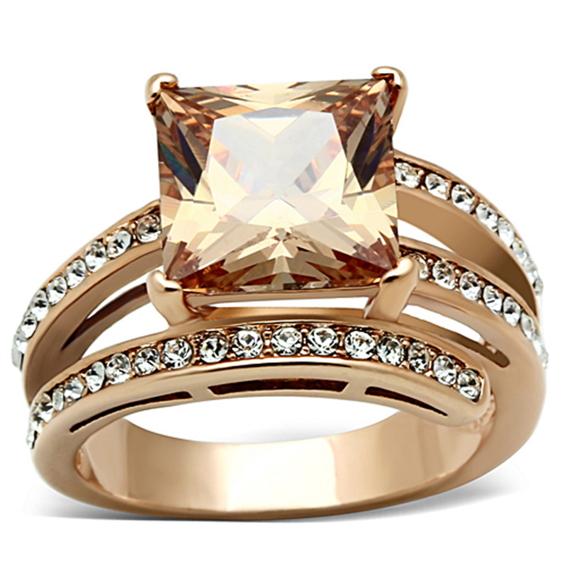 6.85 CT PRINCESS CUT CHAMPAGNE ZIRCONIA ROSE GOLD PLATED COCKTAIL RING SIZE 5-10