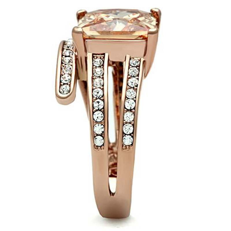 ARTK1665 Rose Gold Plated 6.85 Ct Princess Cut Champagne Zirconia Cocktail Ring Size 5-10
