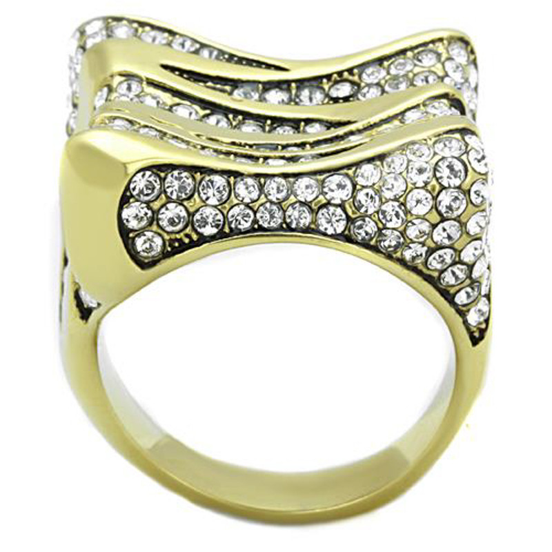 ARTK1709 Stainless Steel 1.5 Ct Top Grade Crystal 14k Gold Plated Cocktail Ring Sz 5-10