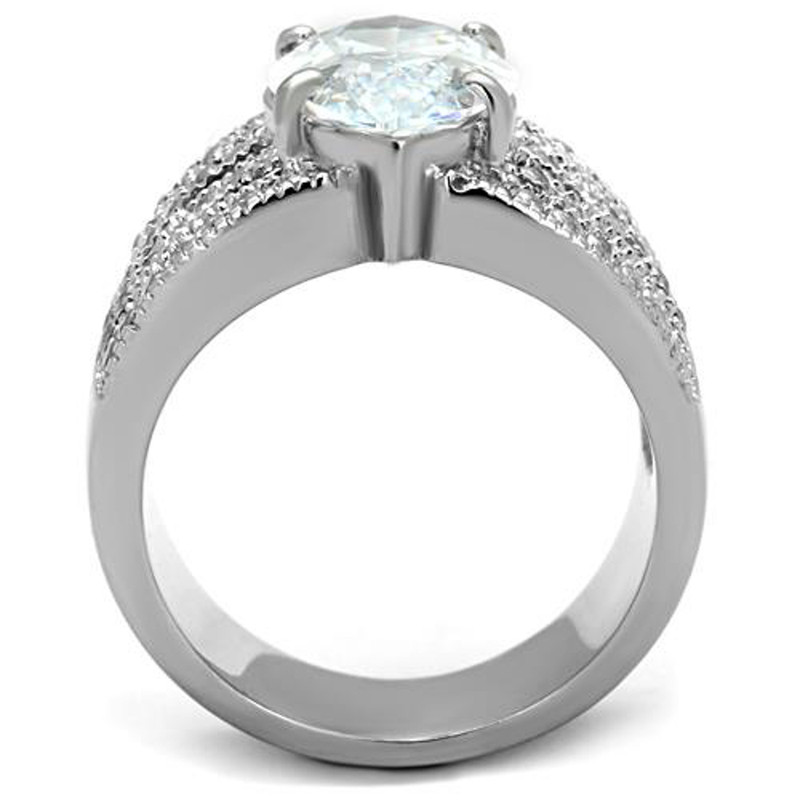 ARTK1752 Stainless Steel 316L 5.82ct Marquise Cut Zirconia  Wide Band Engagement Ring 5-10