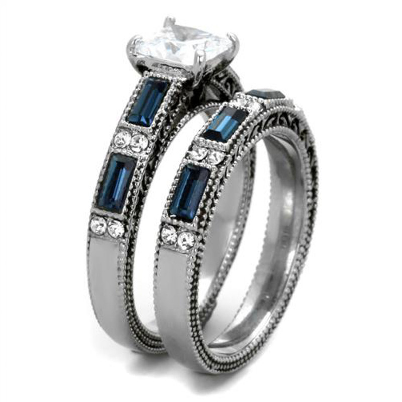 ARTK1829 Stainless Steel 316 Antique Design CZ Multi-Stone 2pc Wedding Ring Set Size 5-10