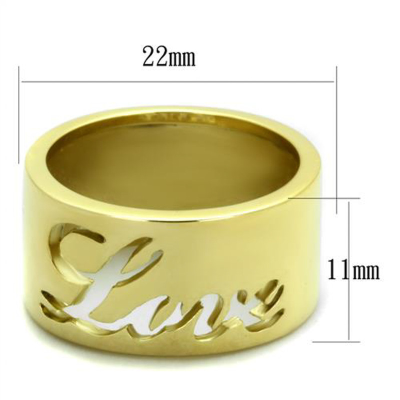 ARTK1878 Stainless Steel 316 Gold Plated 11mm Wide Love Wedding Band Ring Sizes 5-10