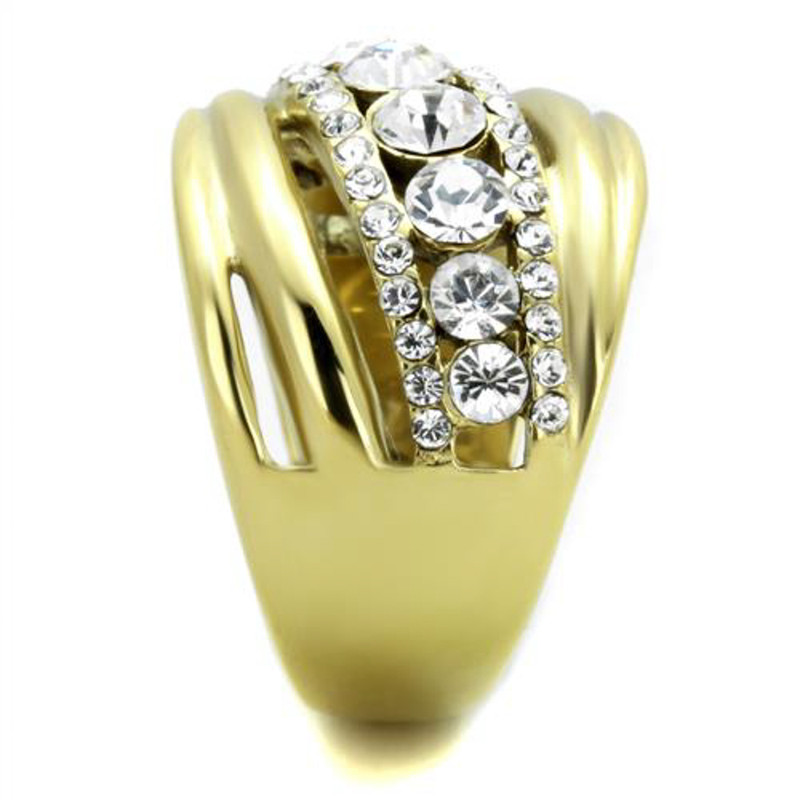 ARTK1880 Stainless Steel Gold Plated Top Grade Crystal Anniversary Ring Women's Sz 5-10