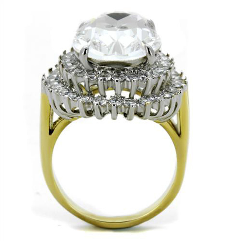 ARTK1894 Stainless Steel 316, 14.5 Ct Clear Oval Crystal Two Toned Cocktail Ring Size 5-10