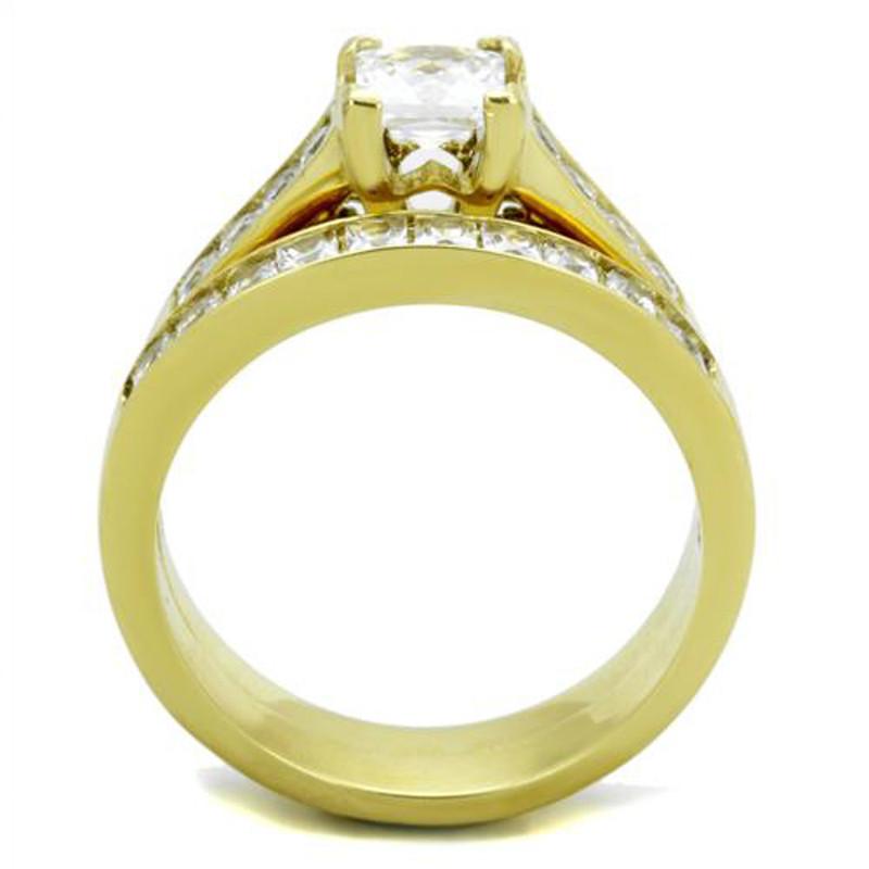 ARTK1895 Stainless Steel 2.50 Ct Princess Cut Zirconia 14k Gold Plated Wedding Ring Set