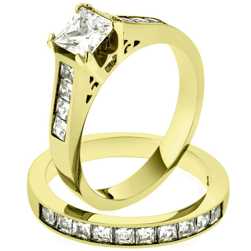 2.50 CT PRINCESS CUT ZIRCONIA 14K GOLD PLATED STAINLESS STEEL WEDDING RING SET