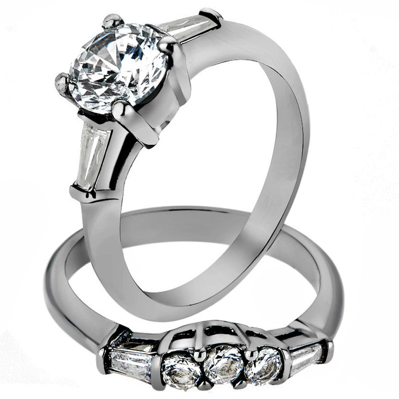 1.95 Ct Round Cut AAA CZ Stainless Steel Wedding Ring Set Women's Size 5-10
