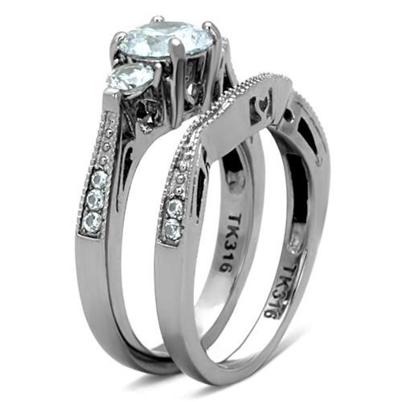 ARTK1W002 Stainless Steel 316, 2.50 Ct Cubic Zirconia Wedding Ring Set Women's Sizes 5-10