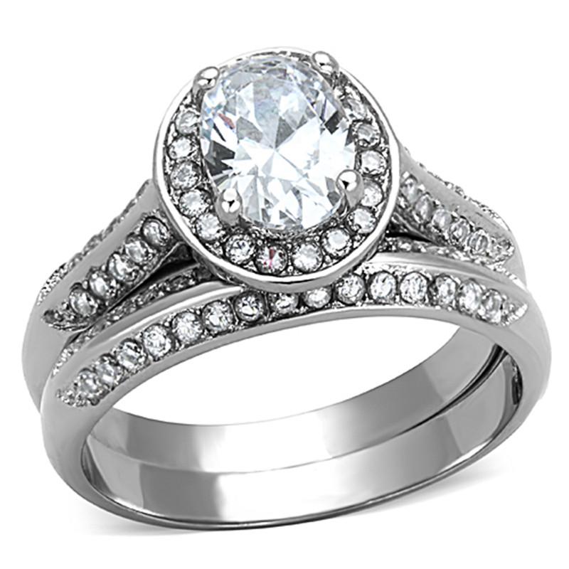 ARTK1W163 Stainless Steel 316 2.65 Ct Oval Cut Cubic Zirconia Halo Wedding Ring Set Sz 5-10