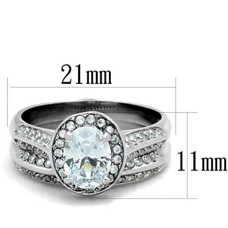 ARTK1W163 Stainless Steel 316 2.65 Ct Oval Cut Cubic Zirconia Halo Wedding Ring Set Sz 5-10