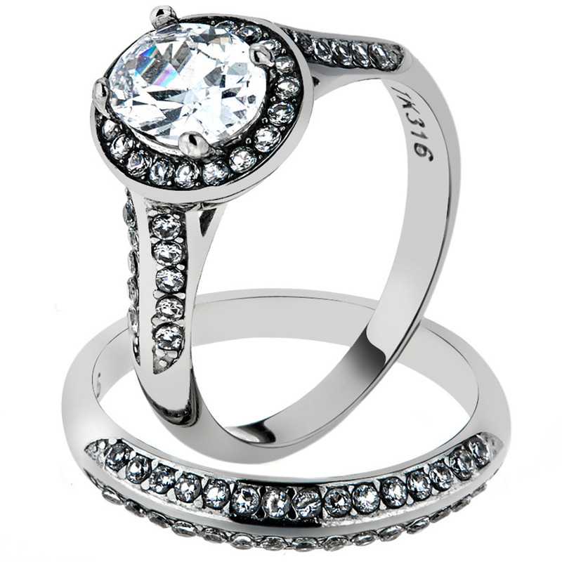 STAINLESS STEEL 316 2.65CT OVAL CUT CUBIC ZIRCONIA HALO WEDDING RING SET SZ 5-10