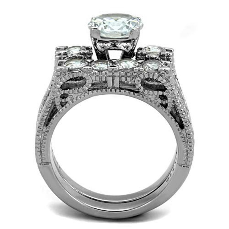 ARTK5X019 Stainless Steel 316 2.95 Ct Round Cut Zirconia Vintage Wedding Ring Set Sz 5-10