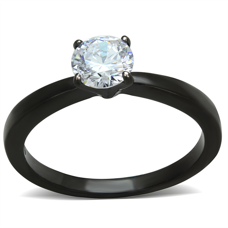 1.05 Ct Round Cut AAA CZ Black Stainless Steel Engagement Ring Women's Size 5-10