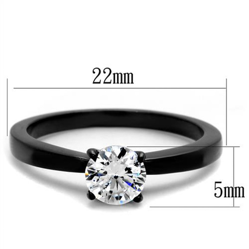 ARTK2013 Stainless Steel 1.05 Ct Round Cut AAA CZ Black Engagement Ring Women's Size 5-10