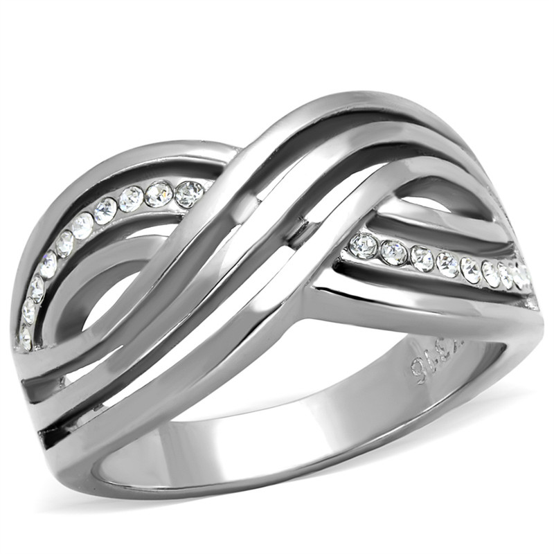 WOMEN'S ROUND CUT AAA CZ STAINLESS STEEL ANNIVERSARY/INFINITY RING BAND SZ 5-10