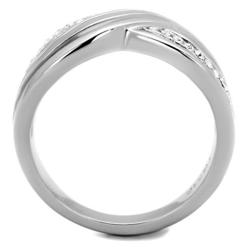 ARTK2025 Stainless Steel Women's Round Cut Crystal Anniversary/infinity Ring Band Sz 5-10