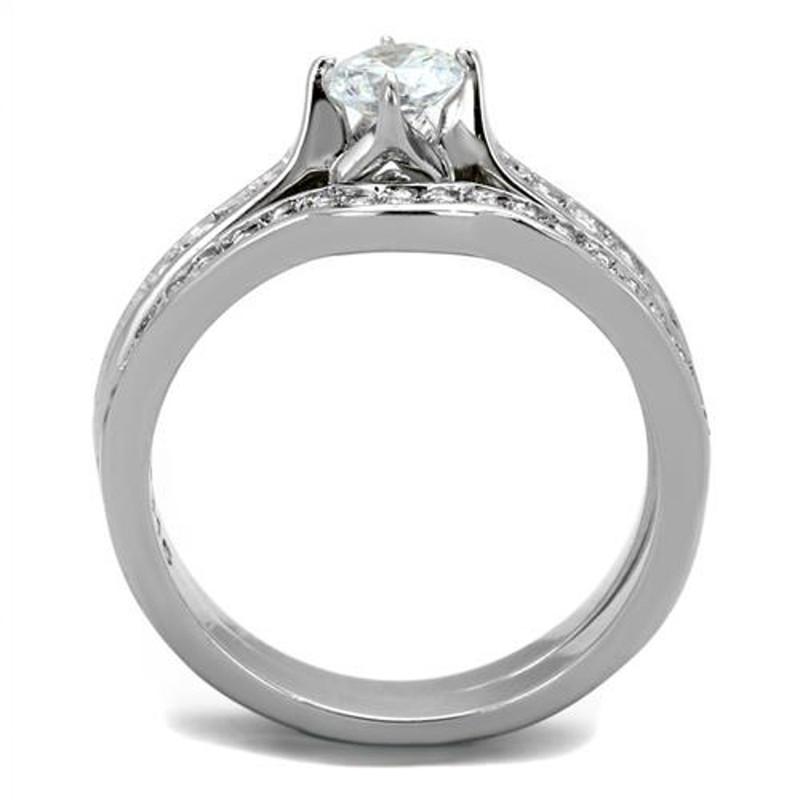 ARTK2039 Stainless Steel 316, .75 Ct Cubic Zirconia Wedding Ring Set Women's Size 5-10
