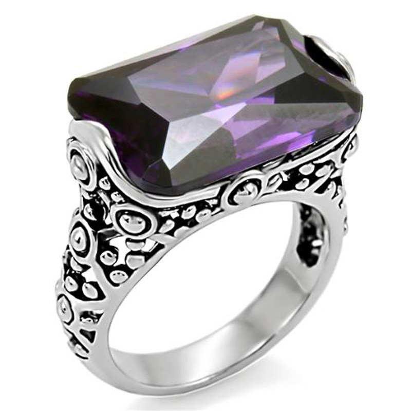 28 CT EMERALD CUT AMETHYST CZ ANTIQUE CELTIC STYLE STAINLESS STEEL RING SZ 5-10