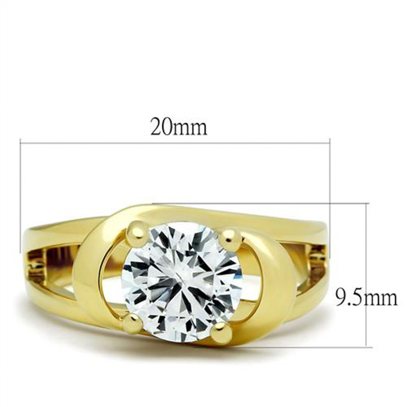ARTK066G Women's 14k Gold Plated 2.0 Ct Round Brilliant Cut CZ Engagement Ring Size 5-10