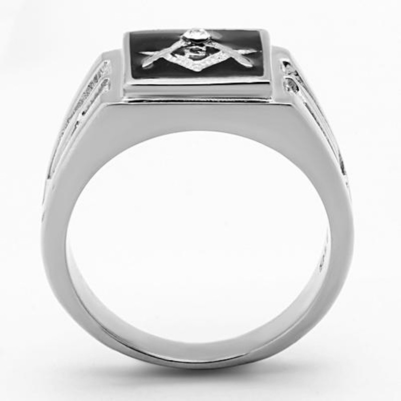 ARTK1158 Stainless Steel Men's Tusk 316 Crystal Masonic Lodge Freemason Ring Band Sz 8-13