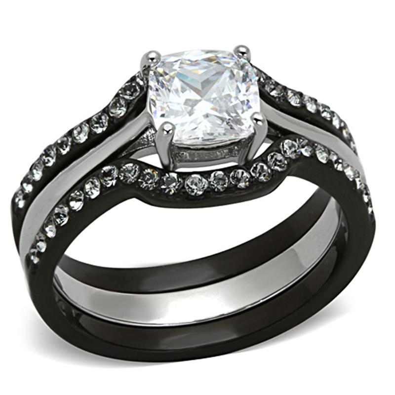 1.85 CT CUSHION CUT CZ BLACK STAINLESS STEEL WEDDING RING SET WOMEN'S SIZE 5-10