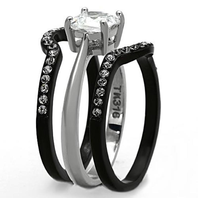 ARTK1343 Stainless Steel 1.85 Ct Cushion Cut CZ Black Wedding Ring Set Women's Size 5-10