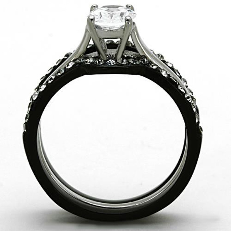 ARTK1344 Stainless Steel 2.15 Ct Oval Cut CZ Black Wedding Ring Set Women's Size 5-10