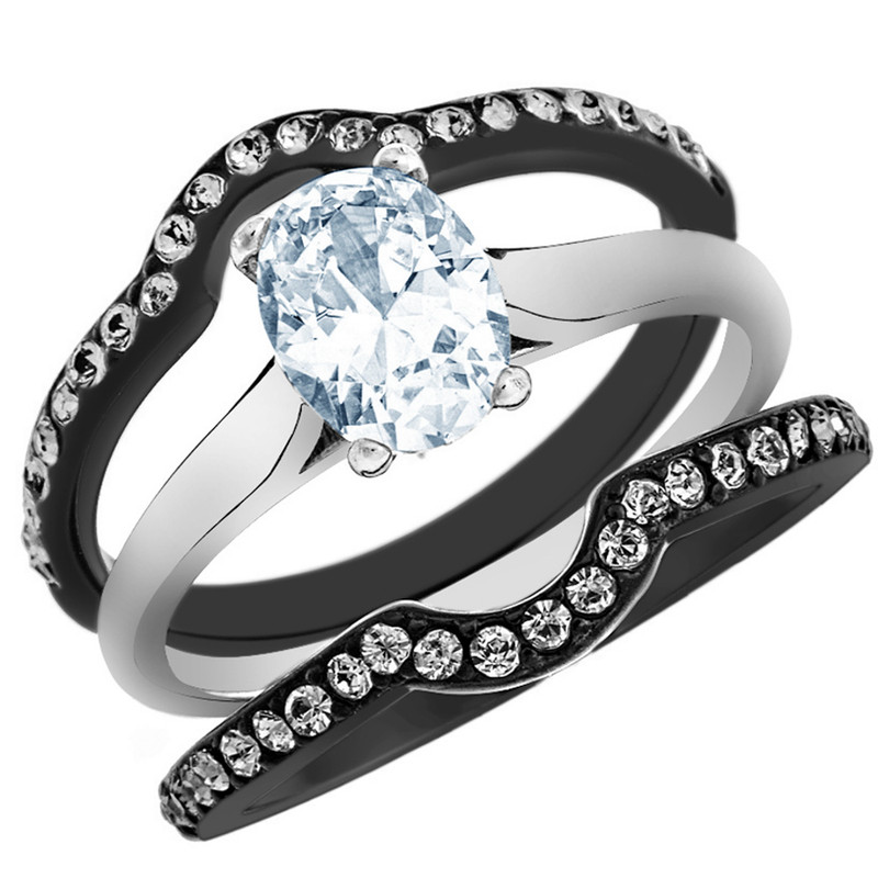 2.15 CT OVAL CUT CZ BLACK STAINLESS STEEL WEDDING RING SET WOMEN'S SIZE 5-10