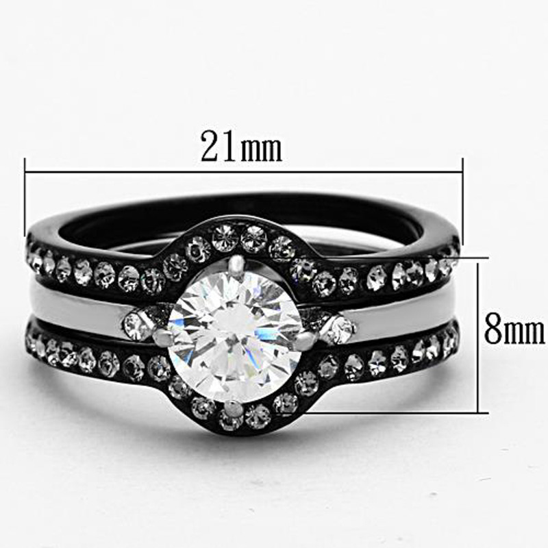 ARTK1346 Stainless Steel 1.90 Ct Round Cut CZ Black Wedding Ring Set Women's Size 5-10