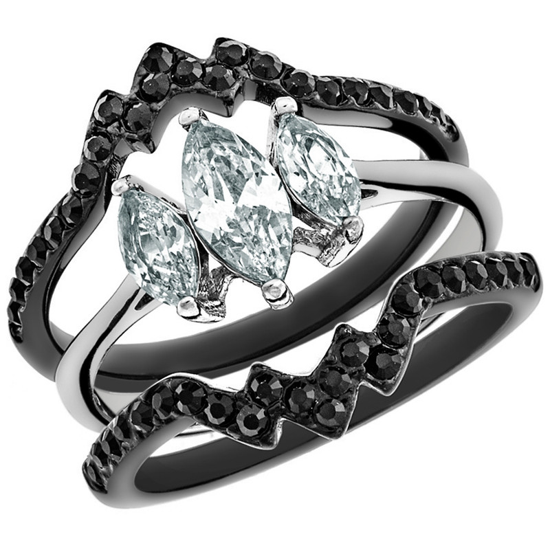 2.25 CT MARQUISE CUT CZ BLACK STAINLESS STEEL WEDDING RING SET WOMEN'S SIZE 5-10