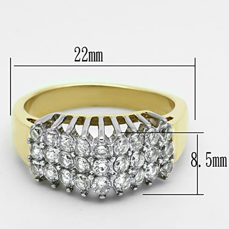 ARTK1376 Stainless Steel 316 Two Tone I.p. Cubic Zirconia Cocktail Fashion Ring Size 5-10