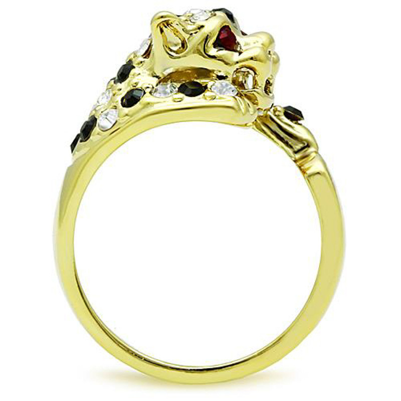 ARTK1401 Stainless Steel 14k Gold Plated Multi-Color Crystal Cocktail Tiger Ring Sz 5-10