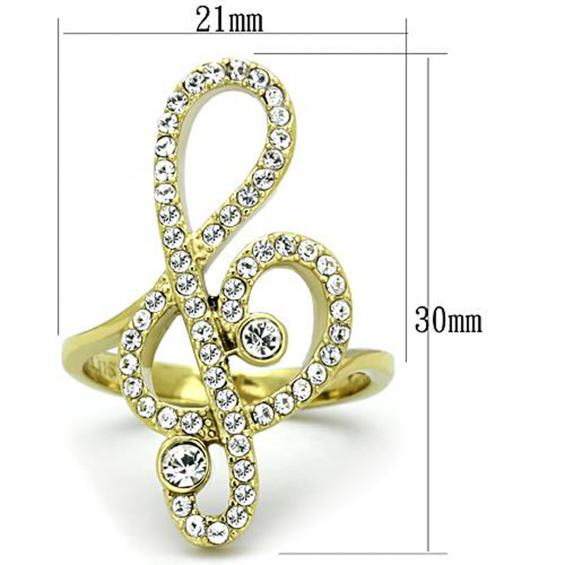 ARTK1714 Stainless Steel 14K Gold Plated Crystal Musical Note Fashion Ring Womens Sz 5-10