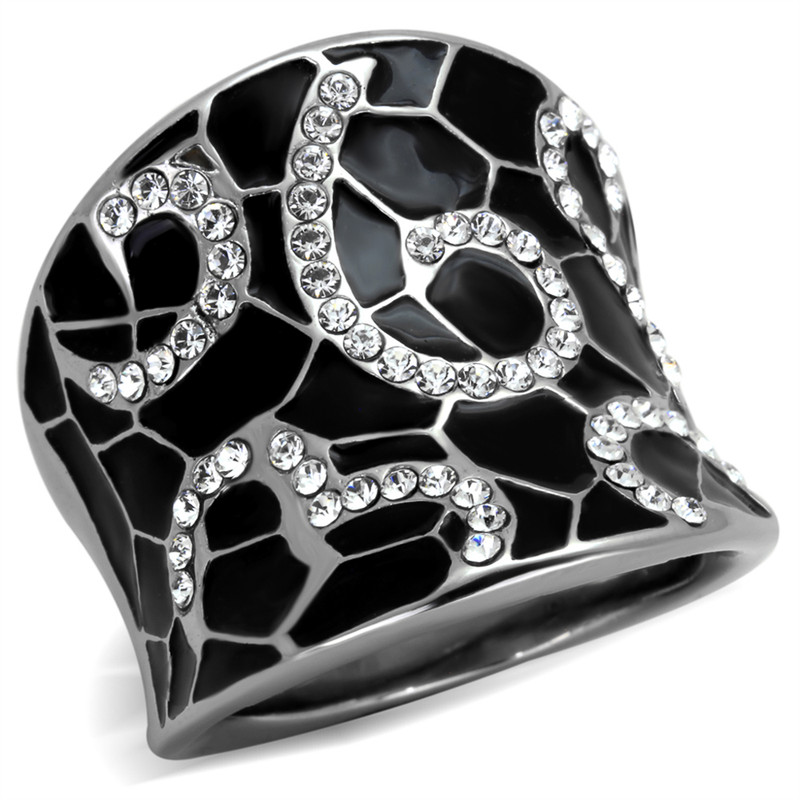 STAINLESS STEEL 316 BLACK EPOXY & CRYSTAL COCKTAIL FASHION RING WOMENS SIZE 5-10