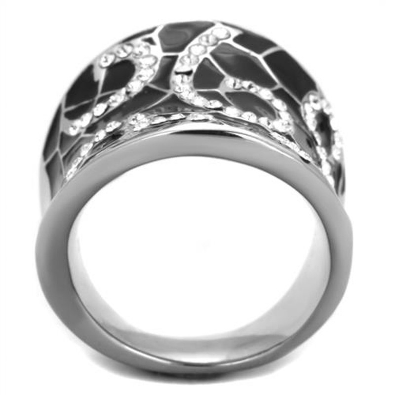 ARTK1853  Stainless Steel 316 Black Epoxy & Crystal Cocktail Fashion Ring Womens Size 5-10