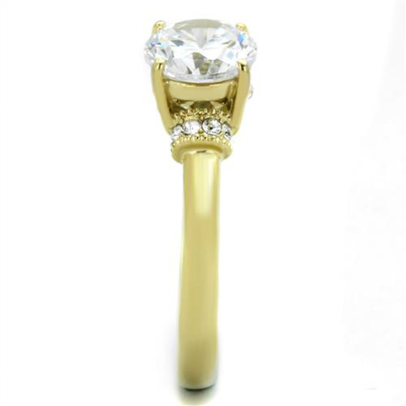 ARTK1877 Stainless Steel 1.33 Ct CZ 14k Gold Ion Plated Engagement Ring Women's Size 5-10