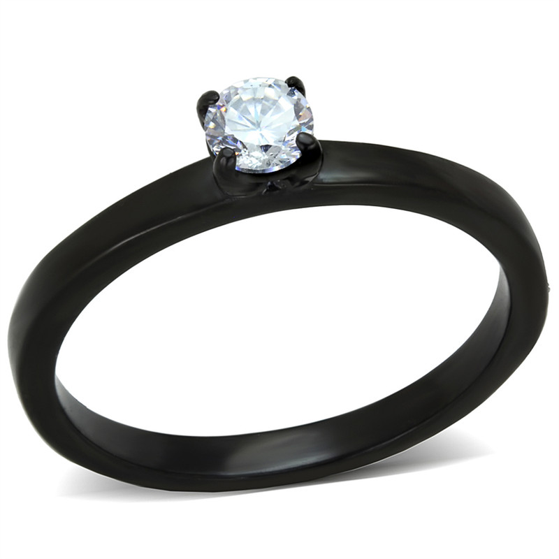 .25 Ct Round Cut AAA CZ Black Stainless Steel Engagement Ring Women's Size 5-10