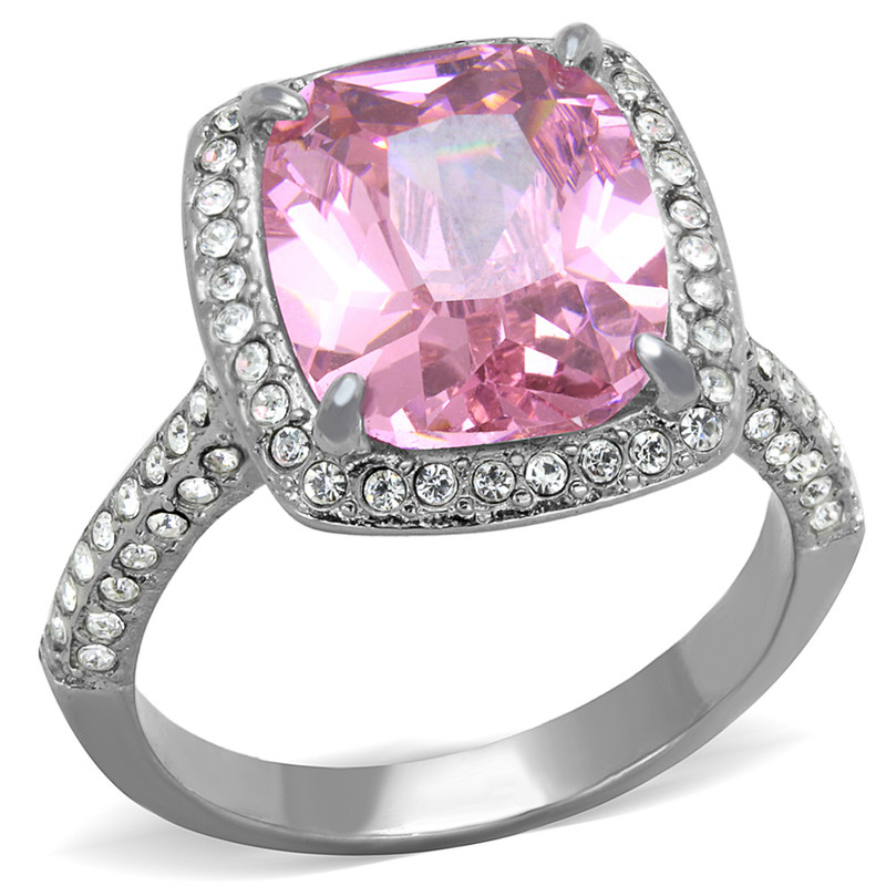 6.38 Ct Emerald Cut Rose Zirconia Stainless Steel Halo Engagement Ring Size 5-10
