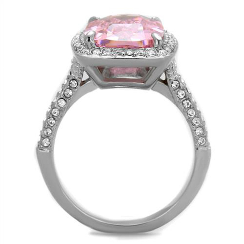 ARTK2027 Stainless Steel 6.38 Ct Emerald Cut Rose Zirconia Halo Engagement Ring Size 5-10